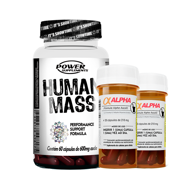 Human Mass (60caps) + Alpha-Axcell (2unid-30caps) Power Supplements
