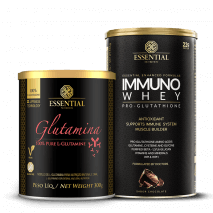 L-Glutamina (300g) Essential Nutrition + Immuno Whey (465g) Essential Nutrition