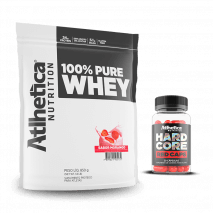 100% Pure Whey (850g) Atlhetica Nutrition + Hardcore Red Caps Grátis