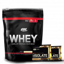 100% Whey Protein (1.8lb/825g) Optimum Nutrition + 2 Amostras Whey Isolate