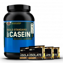100% Casein (1.9lb/900g) Optimum Nutrition + 4 Amostras Whey Isolate