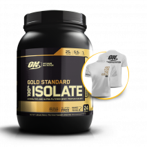 100% Whey Gold Isolate (1.58lbs/720g) Optimum Nutrition + Camiseta Grátis