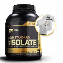 100% Whey Gold Isolate (2.91lbs/1320g) Optimum Nutrition + Camiseta Grátis